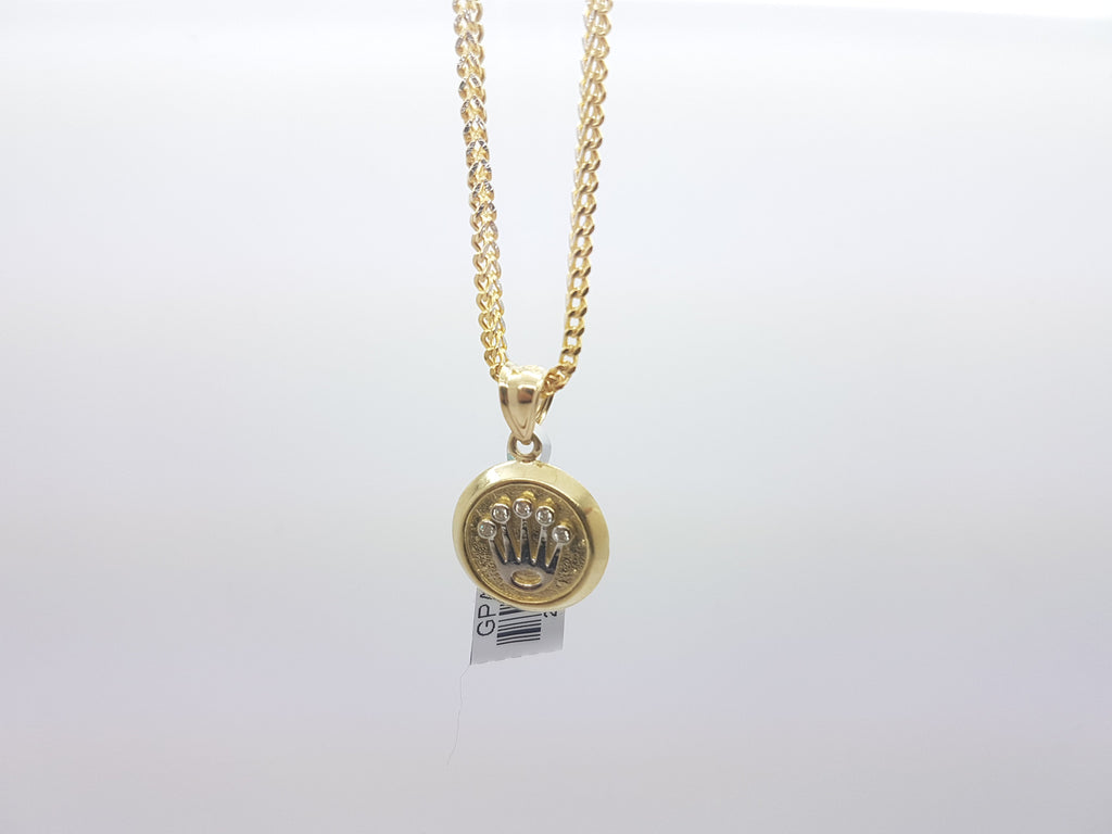 10K Solid Yellow Gold  Medallion Style Crown Pendant With Chain for Men