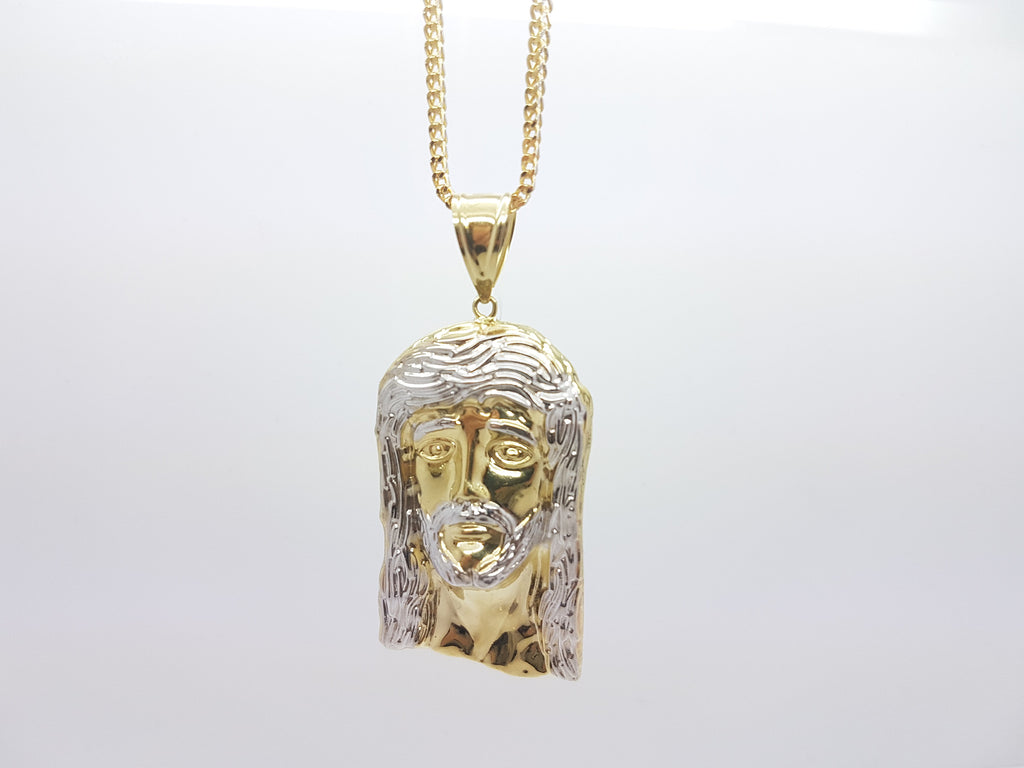 10k Solid Yellow Gold Jesus Head Men Pendant With Chain
