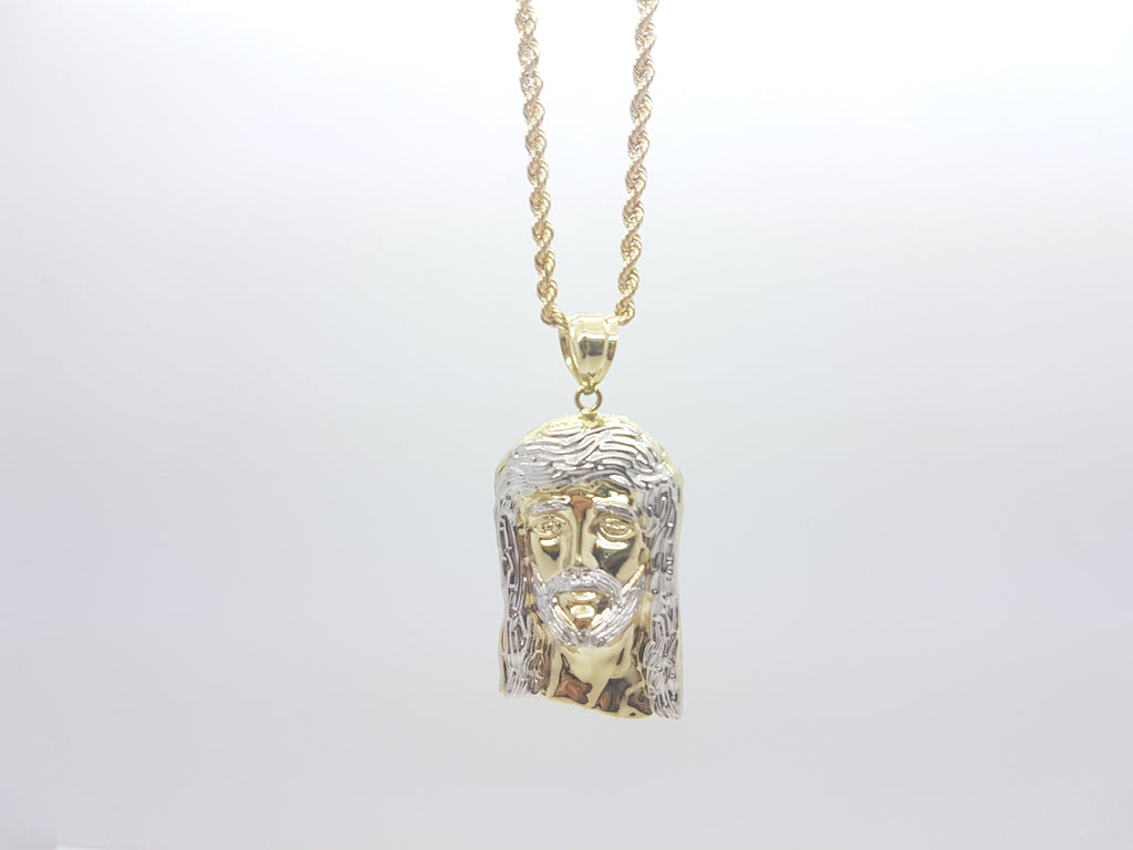10k Solid Yellow Gold Jesus Head Pendant With Chain For Men - Solid Gold Online