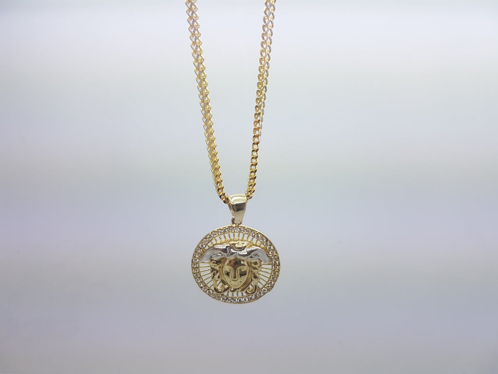 10k Solid Yellow Gold Medaillon Medusa Pendant With Chain - Solid Gold Online