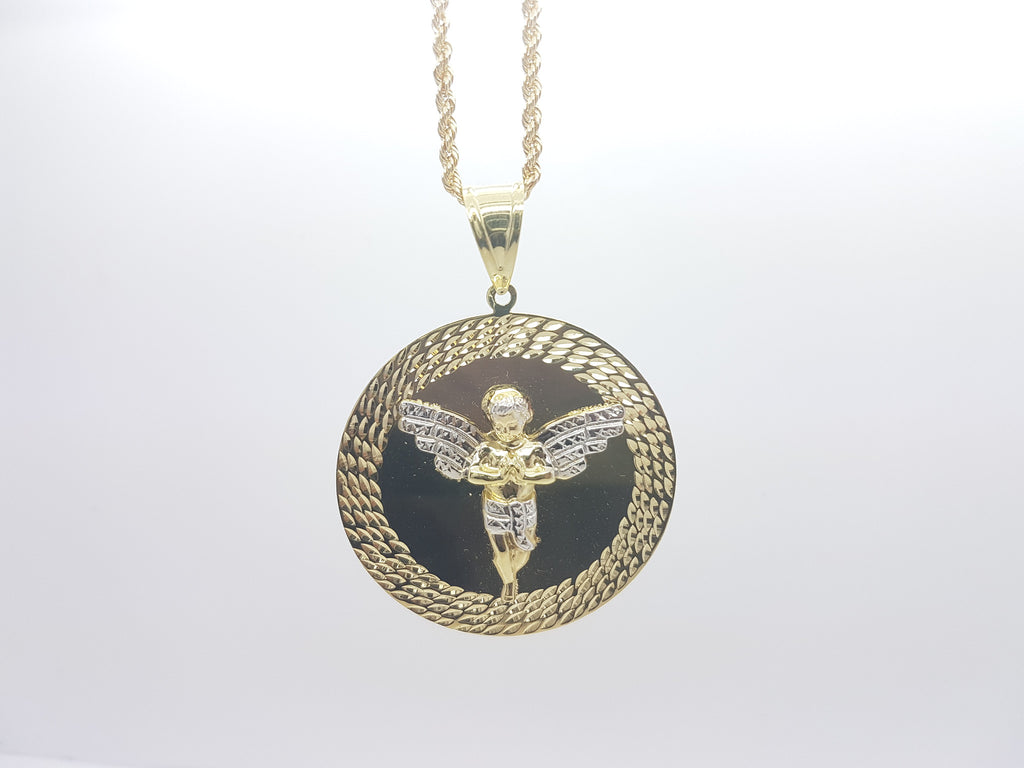 10k Solid Yellow Gold Medaillon Angel Pendant With Chain