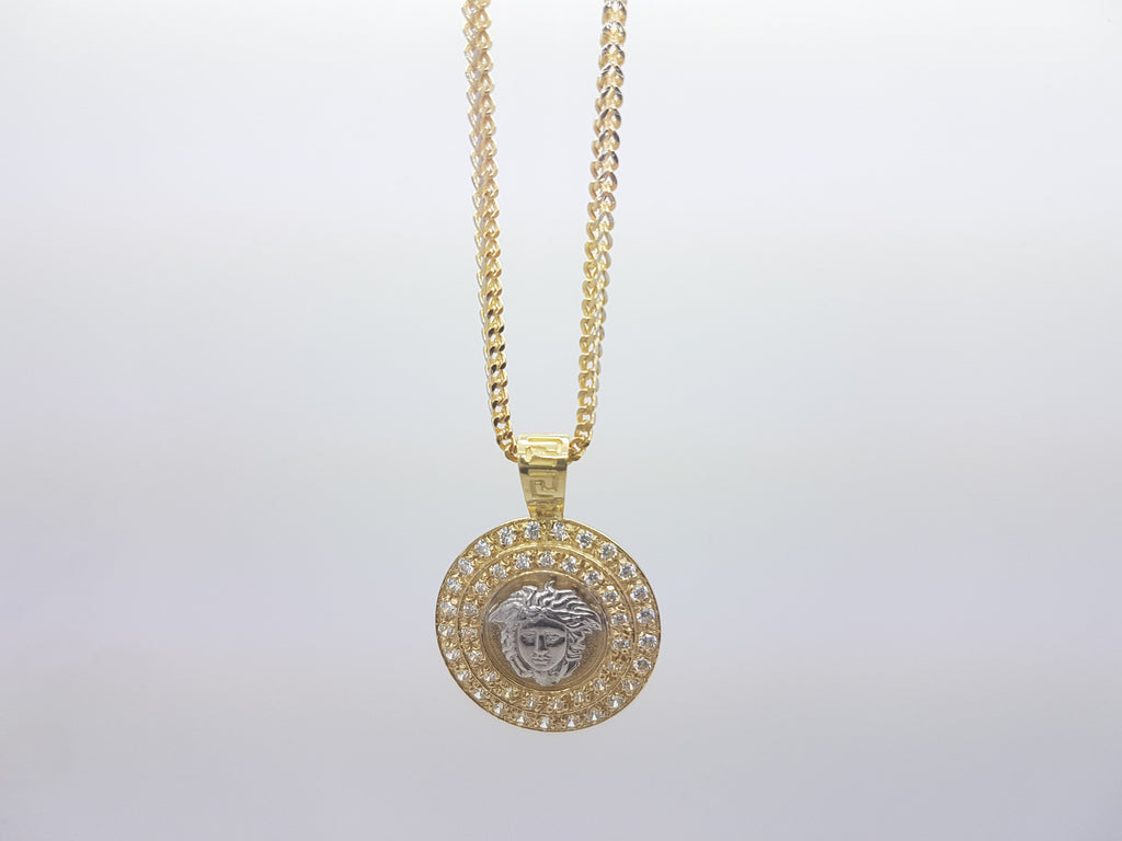 10k Solid Yellow Gold Medaillon Versace Pendant With Chain