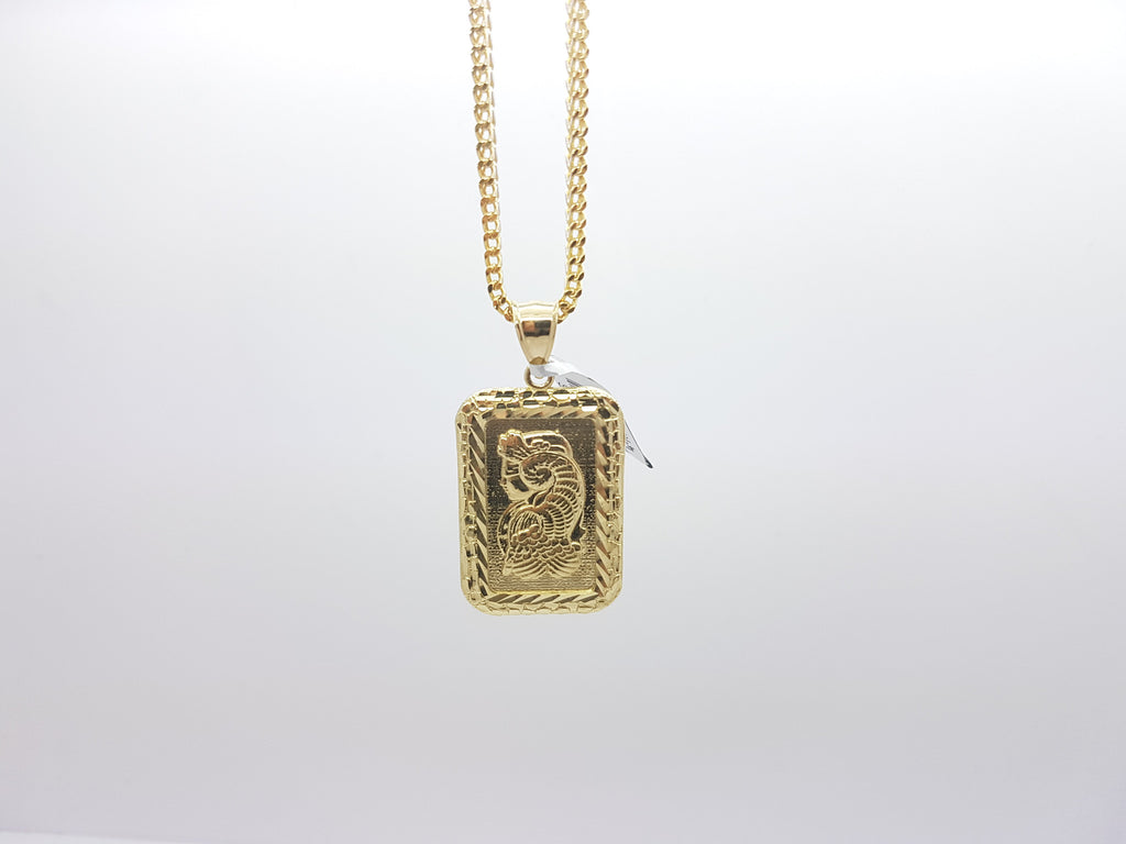 10K Solid Yellow Gold Bar Pendant Lady Fortuna Suisse (w/Chain)