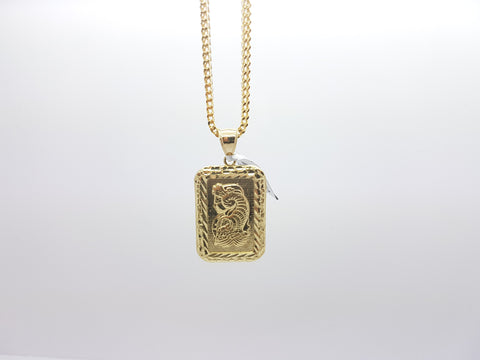 10K Solid Yellow Gold Bar Pendant Lady Fortuna Suisse (w/Chain) - Solid Gold Online
