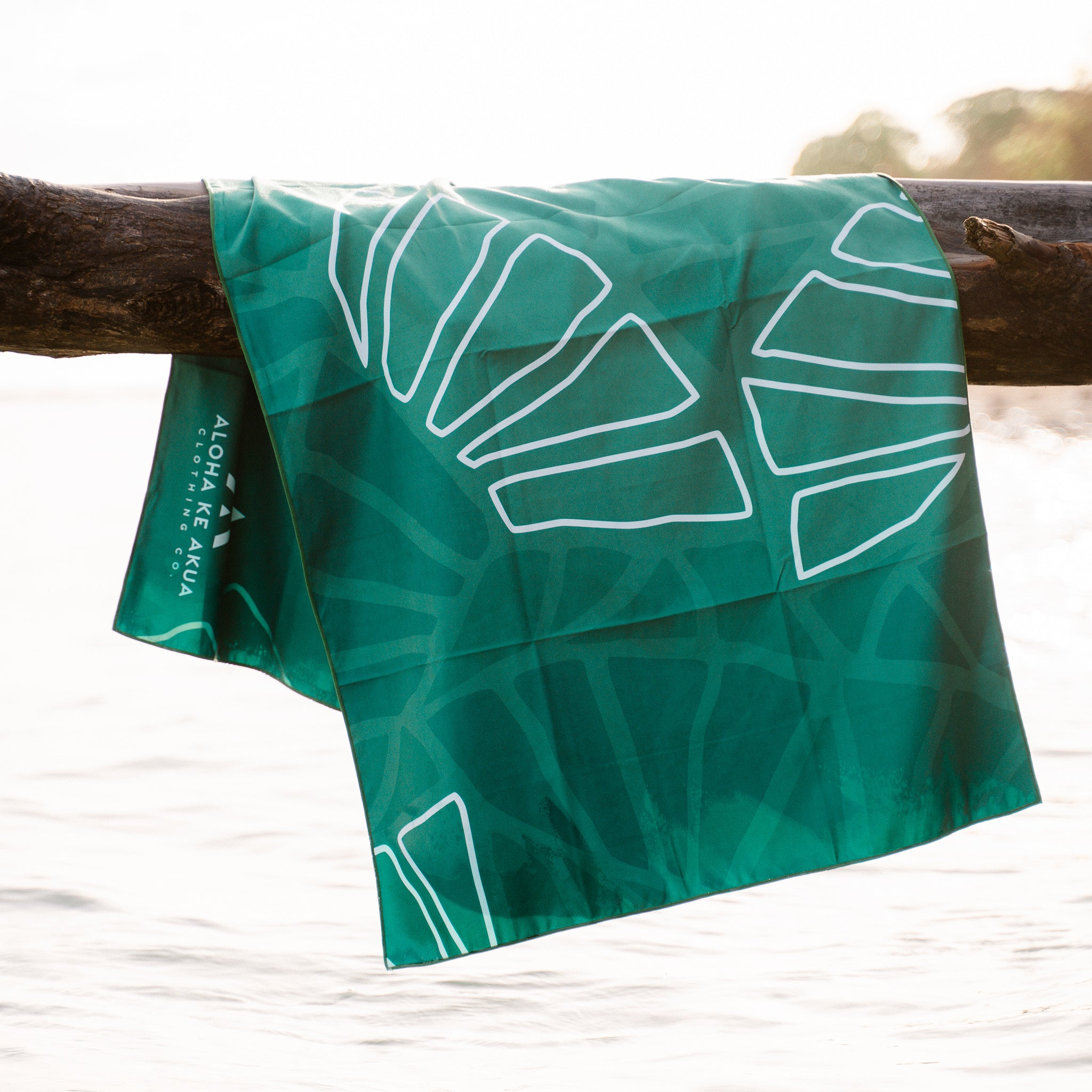 Kalo Beach Towel Pattern Hanging over water