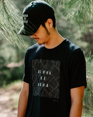 Lau Mai'a (Banana Leaf) tee with Aloha Ke Akua print Black in the forest