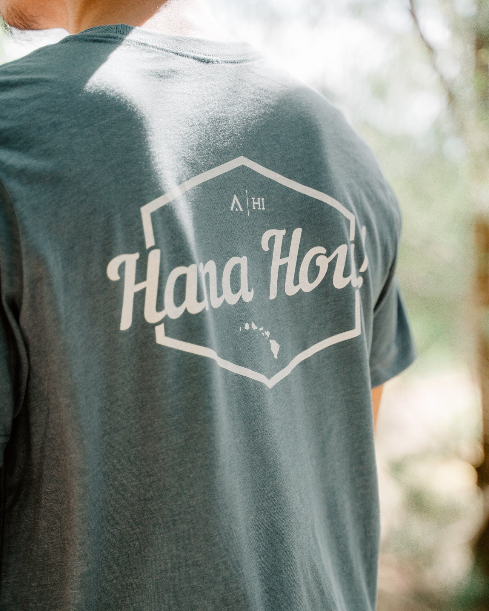 Hana Hou Shirt Back Print Heather Slate