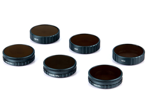 DJI OSMO Action Camera Lens Filter Set, (6 Pack) ND4, ND8, ND16, ND4/CPL, ND8/CPL, ND16/CPL, Waterproof - F/Stop Labs