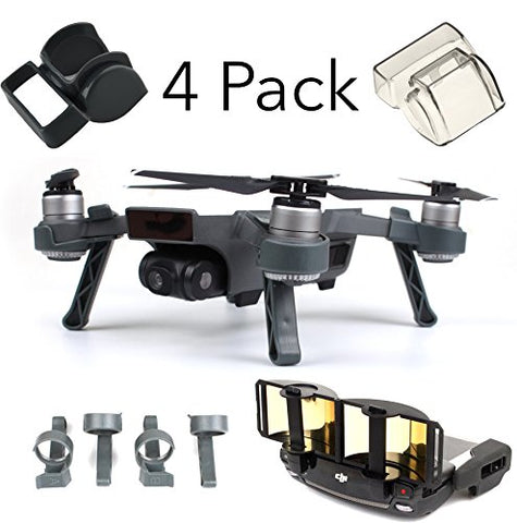 DJI Spark Accessories Set Bundle Combo Lens Cap Hood Sun Shade Camera Cover Protector Landing Gear Antenna Range Booster By FSLabs (4 pack) - F/Stop Labs