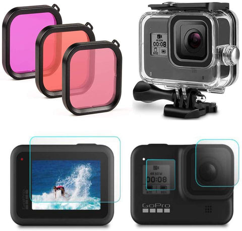 GoPro Hero 8 Black Waterproof Case Diving Protective Housing Case + 3 Pack Filter + 4 Pack Ultra Clear Tempered Glass Screen Protectors - F/Stop Labs