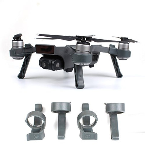 FSLabs DJI Spark Landing Gear Legs Height Extender Kit Riser Set Stabilizers (Gray Easy Clip)