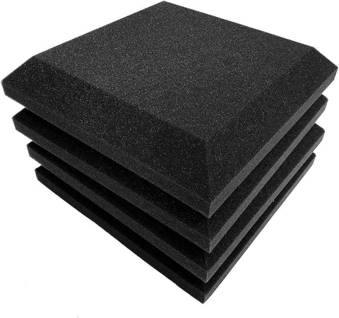"SONIC ACOUSTICS 12 Pack Acoustic Foam Panels, 2"" X 12"" X 12"" Beveled Square Studio Wedge Tiles, Sound Panels Wedges Soundproof Sound Insulation Absorbing…"