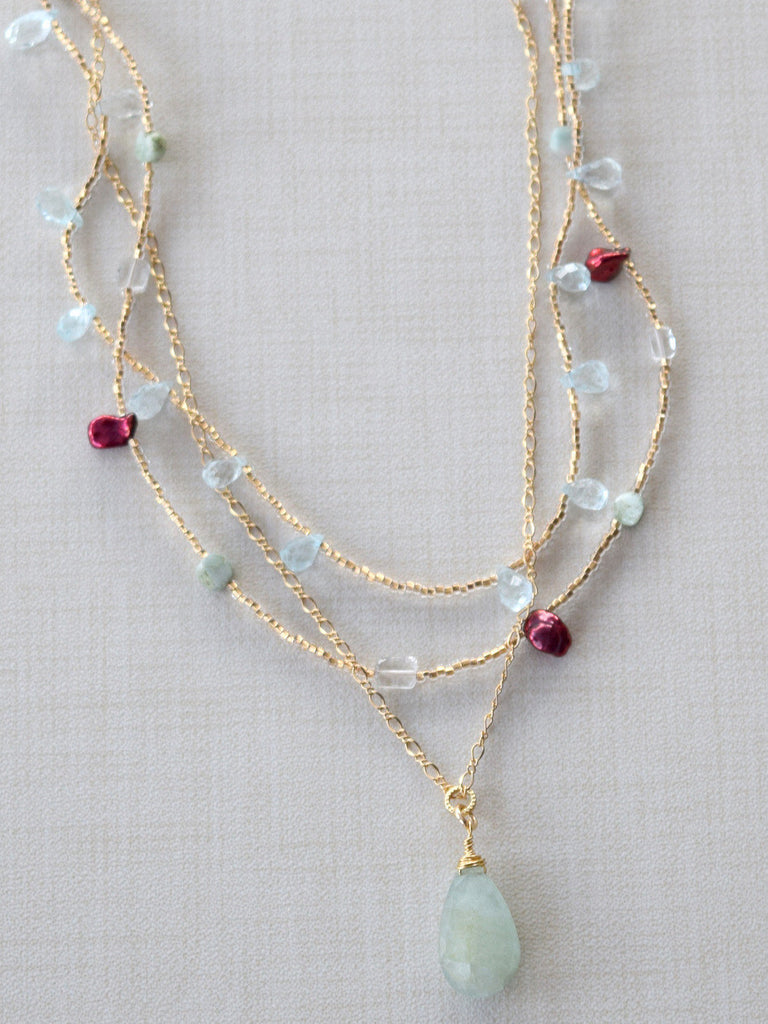 Aquamarine & Red Pearl Neckace