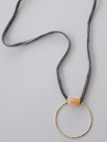 Gray Leather & Loop Necklace