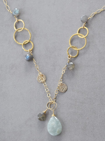 Golden Hoops & Aquamarine Necklace