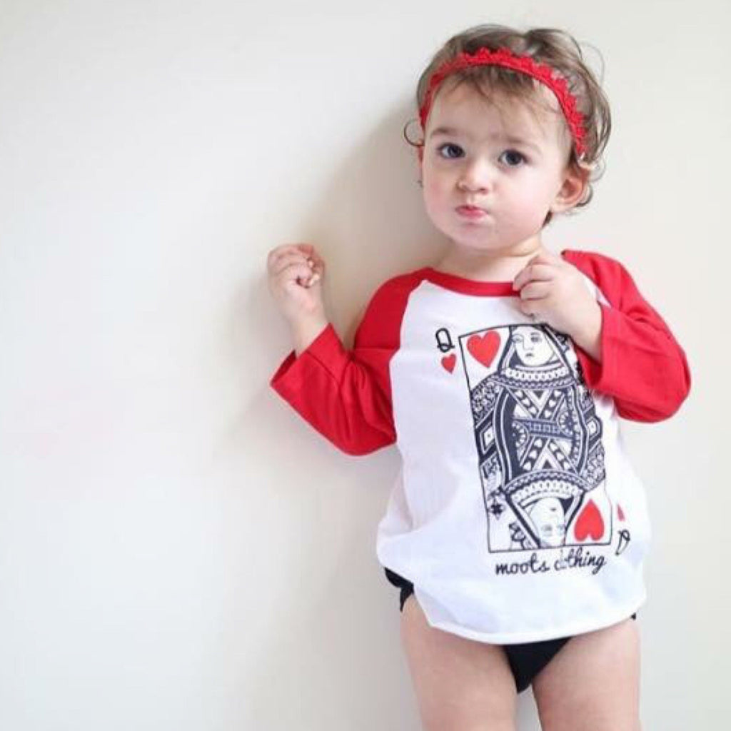 Queen of Hearts Raglan - MootsClothing, Funny, moots, kids fashion, cool kids clothes, mom life, motherhood, wine, baby clothes, children's clothes, childrens clothing, babies clothing, toddler clothing, you're my person, fashion, women's fashion, funny kids tee, mom, gift, toddler fashion, mother, parenthood, funny t shirts, funny shirts, funny shirt, coffee, humor, java, funny, caffeine, coffee jokes, coffee lover gifts, coffee t shirts, coffee shirts, kids shirts, toddler shirts, baby shirts, mom shirts, gifts for coffee lovers, gifts for wine lovers, wine shirts, coffee gifts, wine gifts, wine shirt, graphic tee,