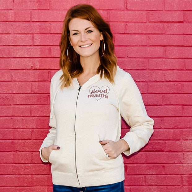 *NEW* Good Mama Heart Oatmeal Zip up hoodie