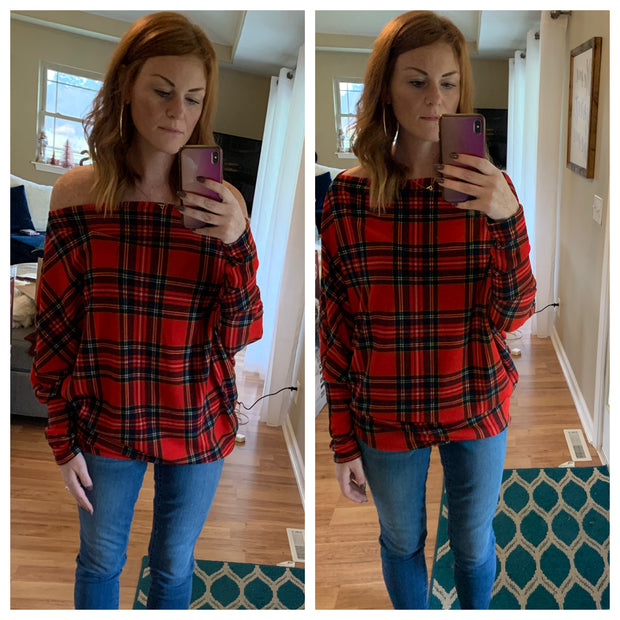 Merry Plaid Off the Shoulder Top