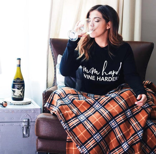 Mom Hard, Wine Harder Lightweight Pullover