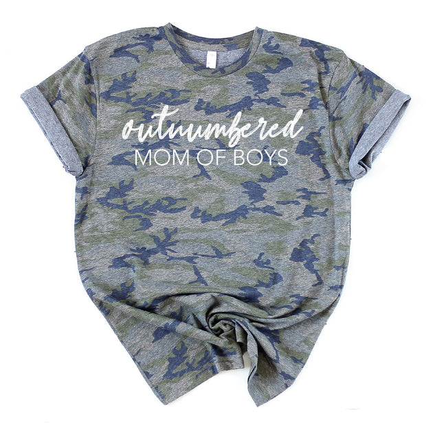 Outnumbered - Mom of Boys Tee - Camo