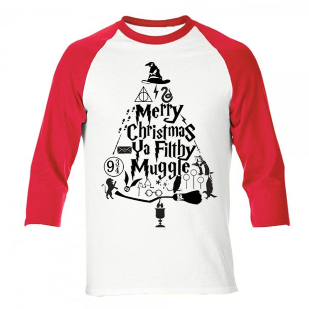 Merry Christmas Ya Filthy Muggle Raglan + Tee - Adults