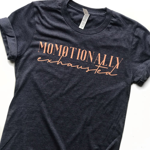 Momotionally Exhausted Short Sleeve - Navy with Peach Ink