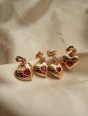 GRACE HEART STUD EARRINGS - Esah and Co
