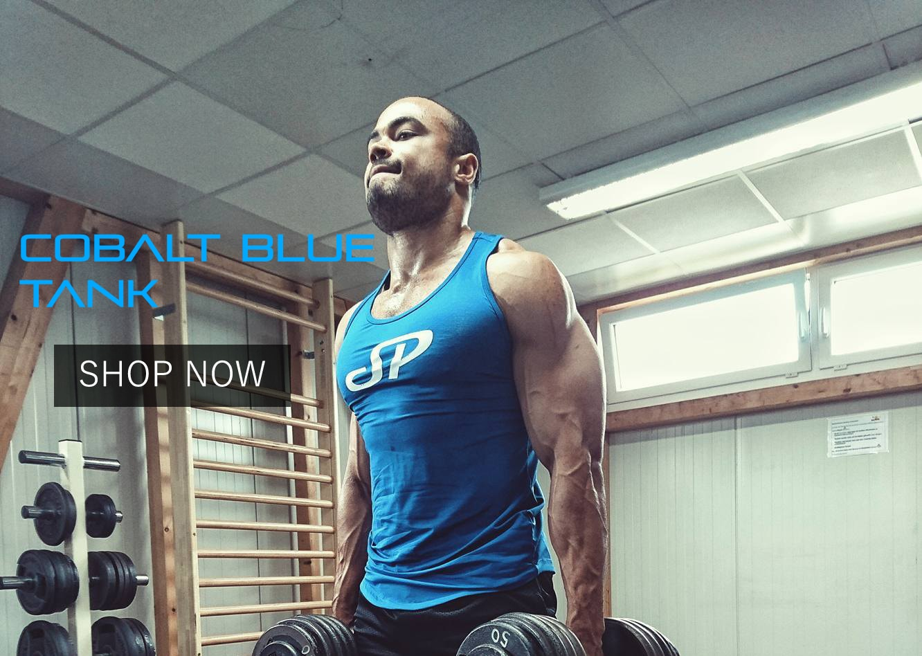 Blue mens fitted tank top