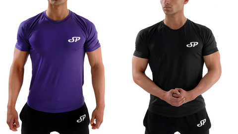 Purple and Black Mens fitted training t-shirt