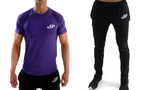 tight fitting purple training short-sleeve top and Black jogging bottoms