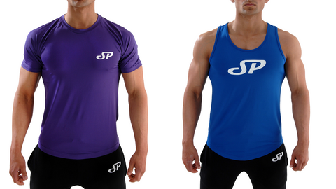 Blue Men's fitted tank top and Purple gym t-shirt