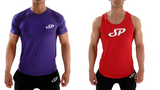 Purple Tight fitting mens training top and Red tapered mens vest top