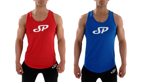 Red and Blue Men's gym tank top