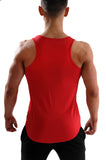 Red fitted men's gym tank