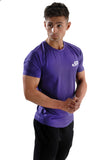 Men's fitted gym and fitness short sleeve T purple