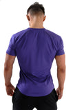 Men's fitted bodybuilding purple t-shirt