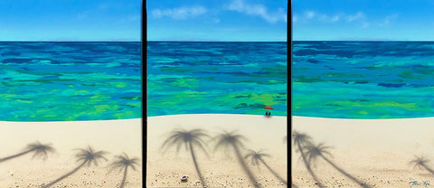 Sale! Beached Coconut Trees Friends Umbrellas Tryptych 24x54 Painting