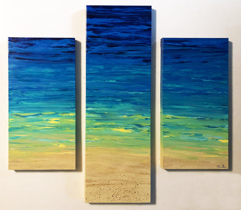 Beached Triptych 36x40 Painting