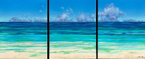Beached Clouds Triptych 20x48 Painting
