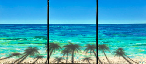 Beached Coconut Trees Tryptych 24x54 Painting