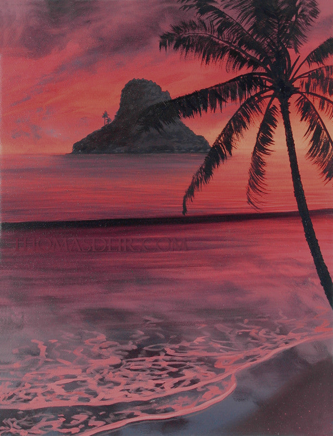 Chinaman's Hat Coconut Tree Painting by Hawaii Artist Thomas Deir