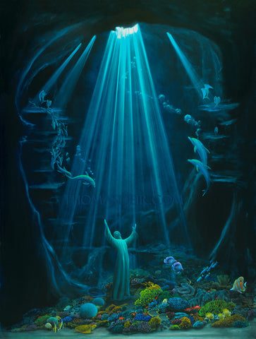 Christ of the Deep Painting by Hawaii artist Thomas Deir