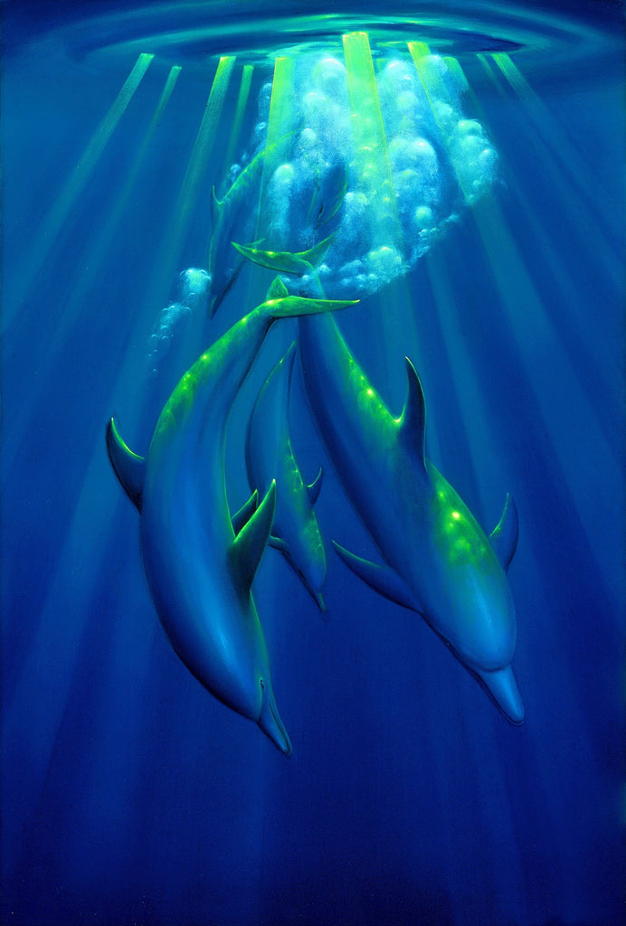Dance of the Dolphins Painting by Hawaii Artist Thomas Deir