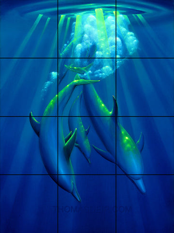 Dance of the Dolphins Tile Mural