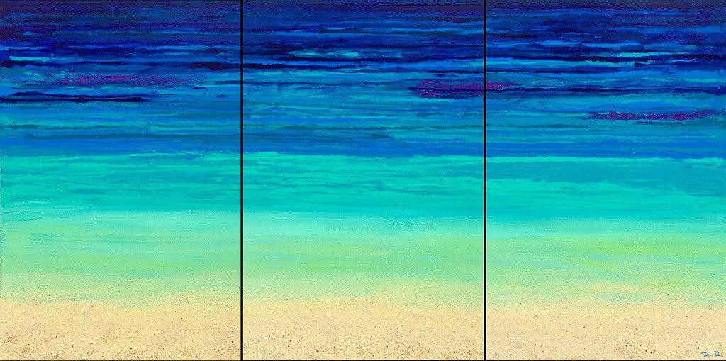 Depth of Blue Triptych 90x40 Painting