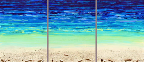 Depth of Blue Triptych2 Painting by Thomas Deir