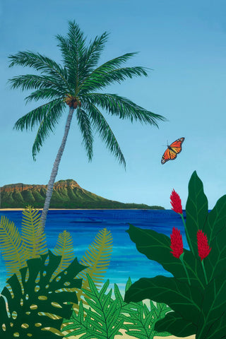 Diamond Head Butterfly Flowers Painting by Hawaii Artist