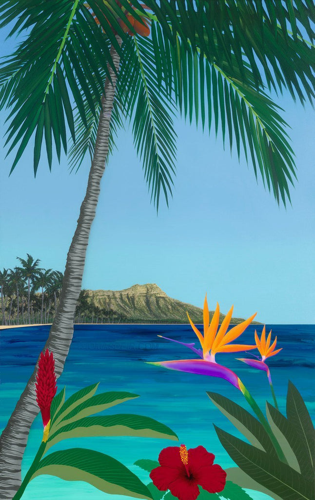 Diamond Head Floral Giclee