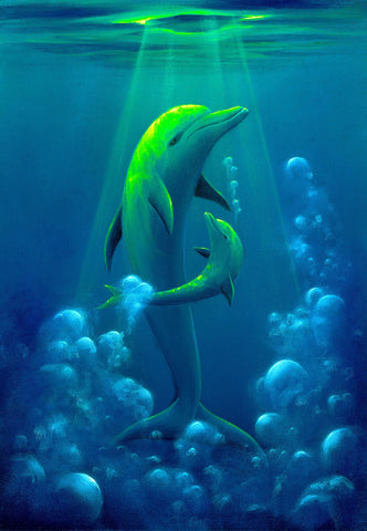 Dolphin Baby Painting by Hawaii Artist Thomas Deir