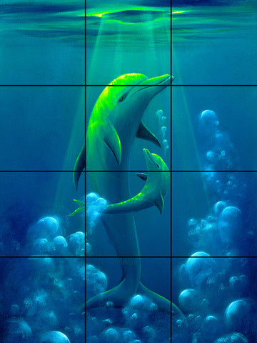 Dolphin Baby Tile Mural